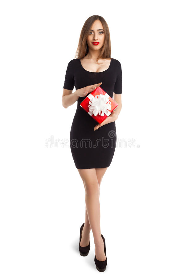 Free Woman With Small Present Box Royalty Free Stock Image - 63929286