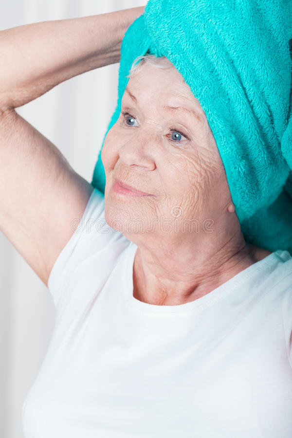 Free Woman With Towel On Head Stock Photos - 48184353