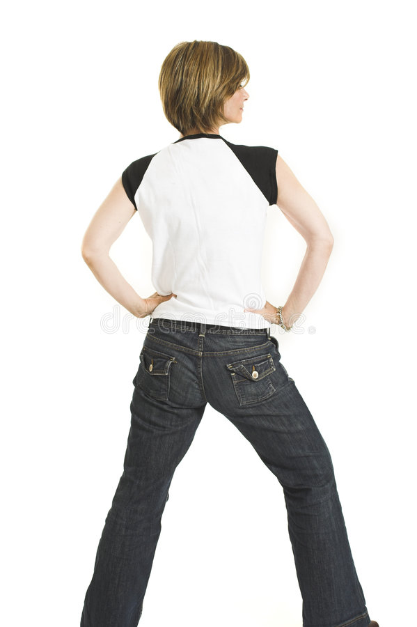 Free Woman With White T-shirt Turning Her Back Royalty Free Stock Photography - 1417737
