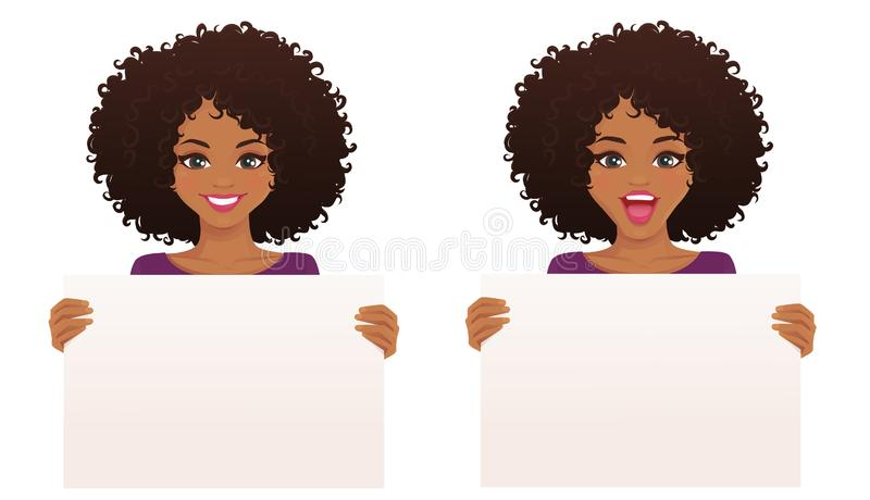 Woman witn board. Beautiful smiling excited woman with afro hairstyle holding empty blank board isolated vector illustration vector illustration