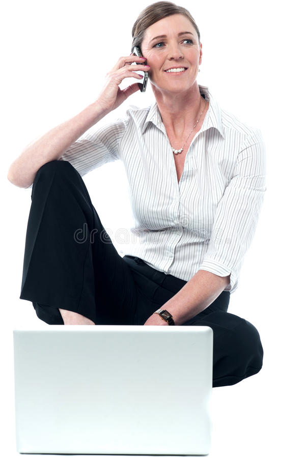 Download Woman Woking On Laptop And Communicating Stock Photo - Image: 32908528