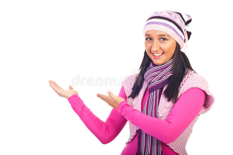 Woman in wool clothes making presentation stock photo
