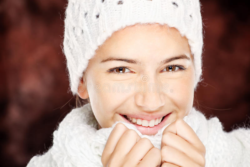 Download Woman In Wool Sweater And Cap Stock Photo - Image: 27173318