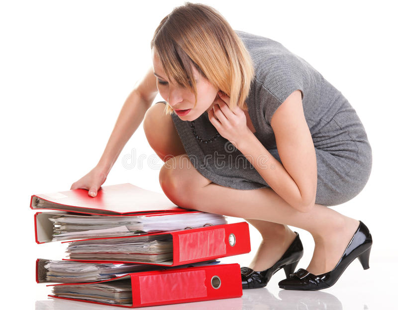 Woman Work Overworked Businesswoman Plenty Of Documents Royalty Free Stock Photography