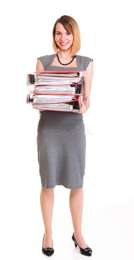 Woman Work Overworked Businesswoman Plenty Of Documents Isolated Stock Photo