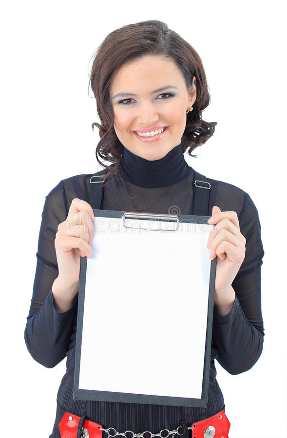 Woman with the work plan smiling. Portrait of a cute young business woman with the work plan smiling stock image