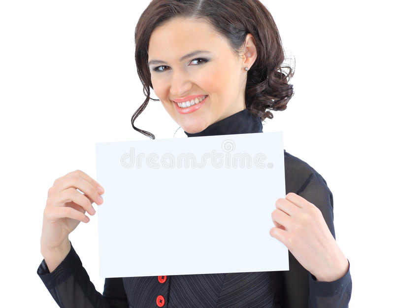 Woman with the work plan smiling. Portrait of a cute young business woman with the work plan smiling stock photography