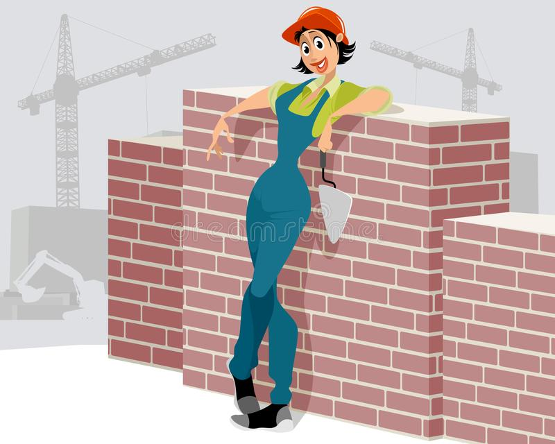 Woman worker on construction site. Vector illustration of woman worker on the construction site royalty free illustration