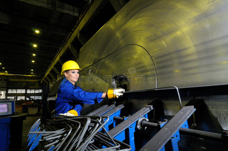 Download Woman working stock photo. Image of helmet, inside, metal - 12616412