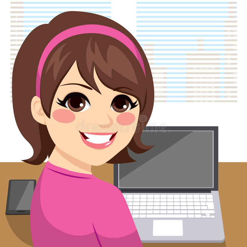 Woman Working Back stock illustration