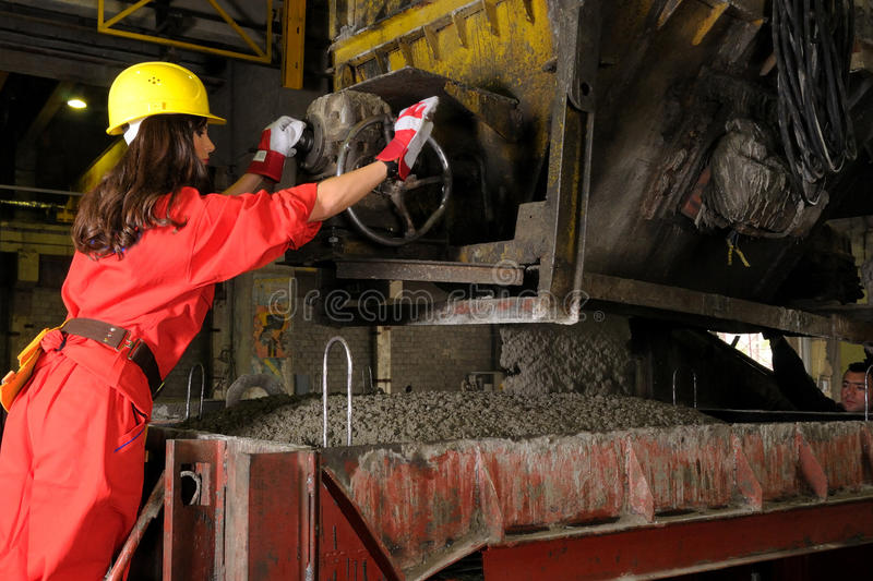 Woman working in building industry royalty free stock images