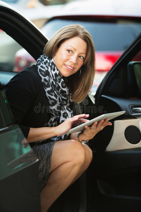Woman Working From Car stock images