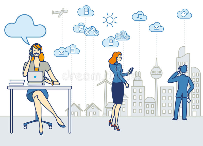Download Woman Working in the City stock vector. Image of computer - 34376431