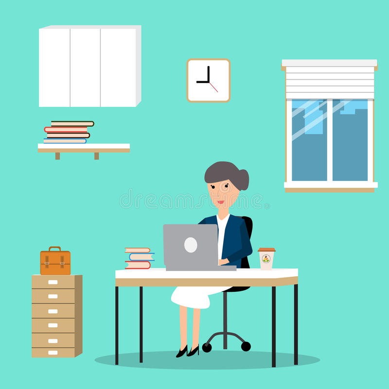 Woman working in the co-working space infographics elements. Illustrator EPS10 stock illustration