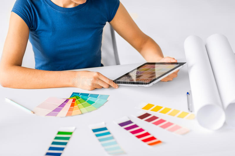 Download Woman Working With Color Samples For Selection Stock Photo - Image: 33506442