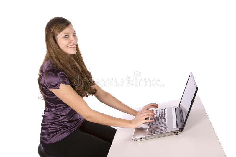 Woman working on a computer royalty free stock image