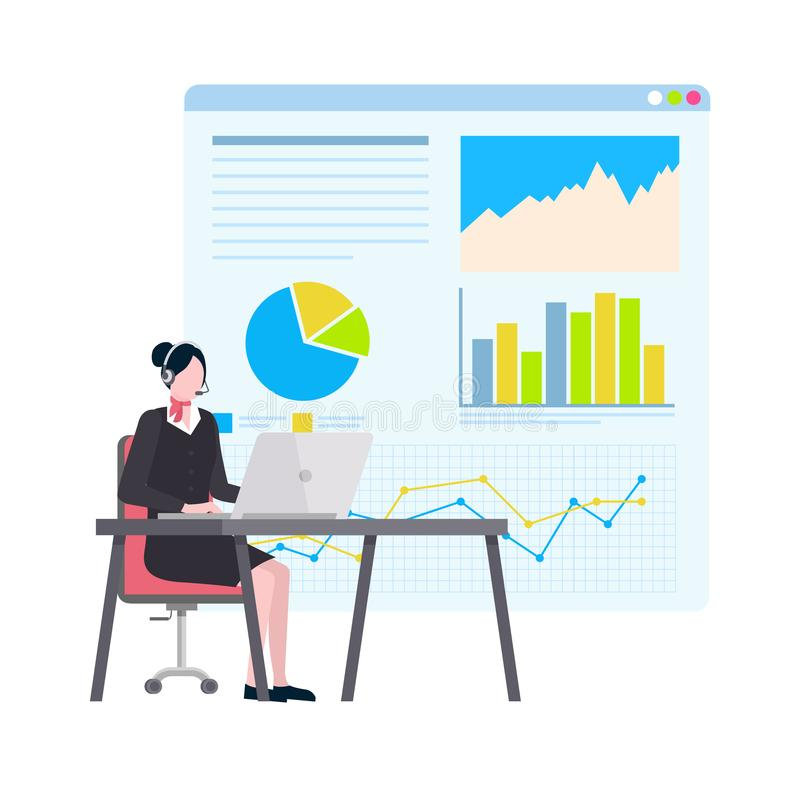 Woman Working on Computer, Board with Data Charts. Visual information on whiteboard vector, woman working on laptop wearing headset. Person with headphones vector illustration