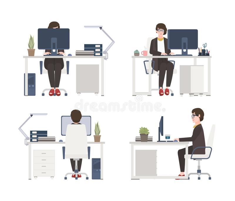Woman working on computer. Female office worker, secretary or assistant sitting in chair at desk. Flat cartoon character. Isolated on white background. Front royalty free illustration