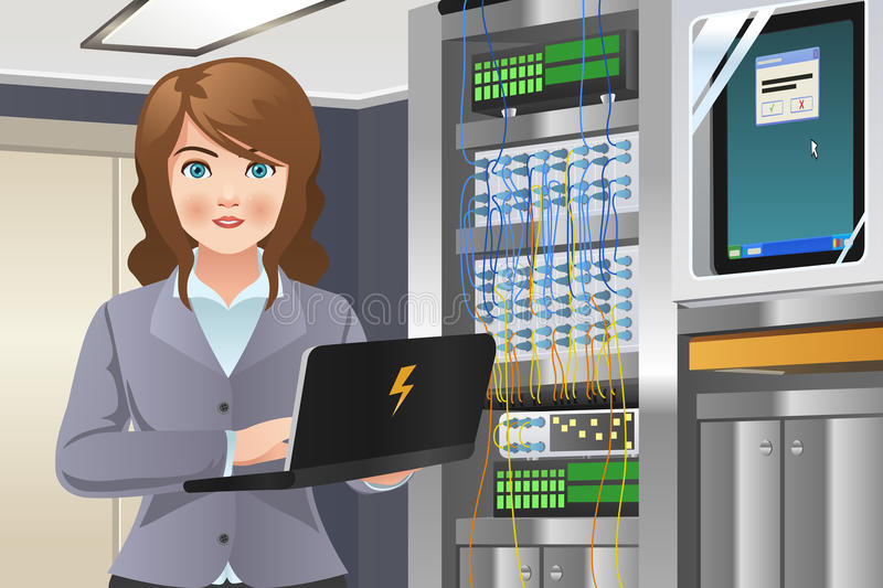 Woman Working in Computer Server Room. A vector illustration of woman working in computer server room stock illustration