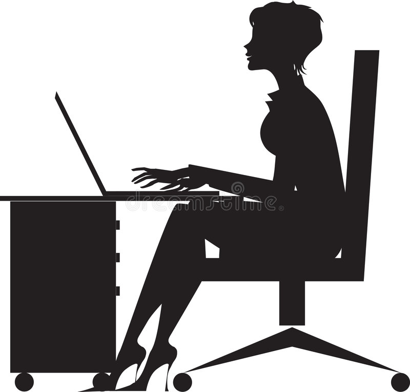 Woman working at desk. A black and white silhouetted illustration of a woman working on a laptop computer while seated at a desk royalty free illustration