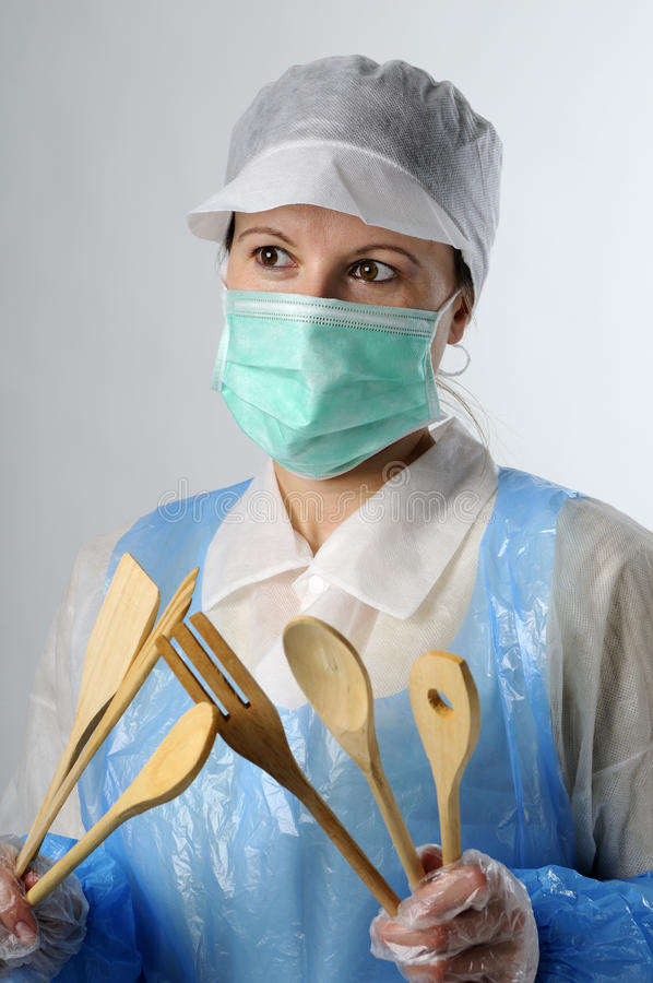 Woman working for food industry. Portrait of worker in food industry wearing protection equipment royalty free stock image