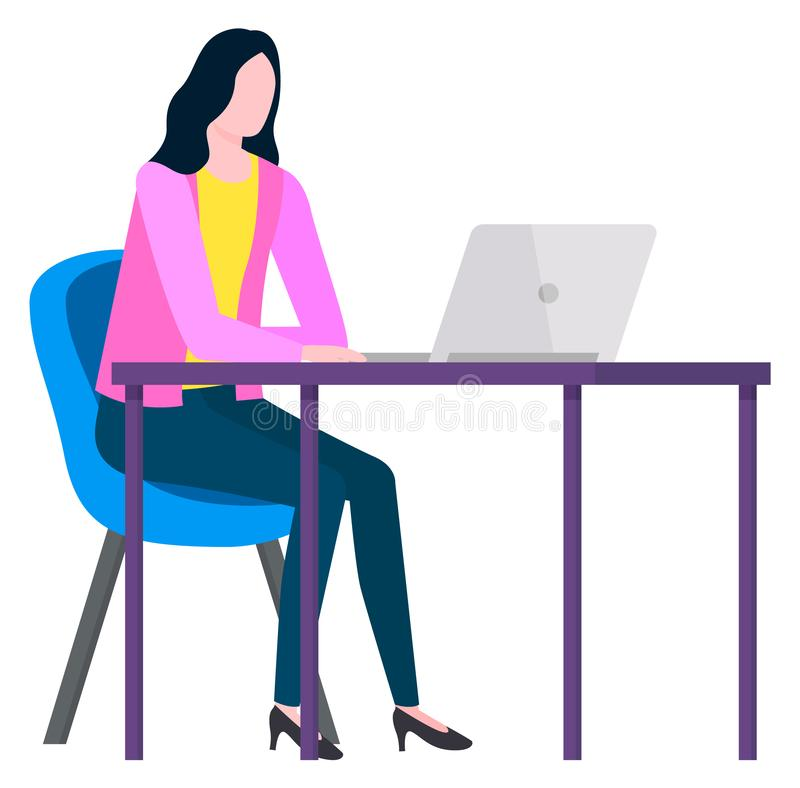 Free Woman Working From Home, Distant Worker Vector Stock Photography - 166935462