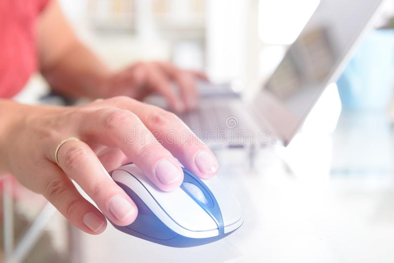 Woman working on her laptop at home office royalty free stock images