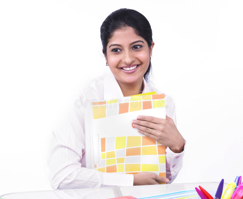 Woman Working At Her Office Desk Stock Photography