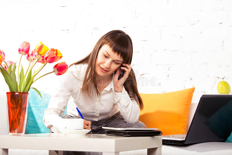 Download Woman working at home stock photo. Image of computer - 27054996
