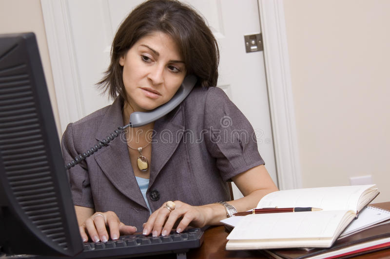 Download Woman Working In Home Office Stock Photo - Image of woman, office: 23032582