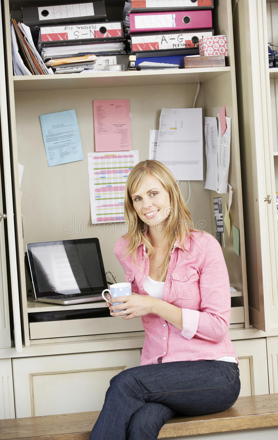 Woman Working In Home Office royalty free stock image