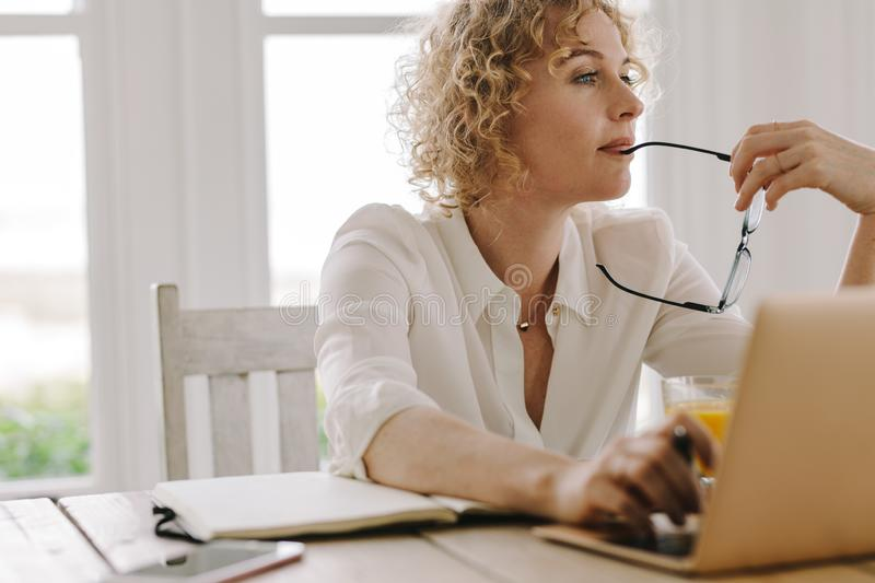 Woman working from home royalty free stock image