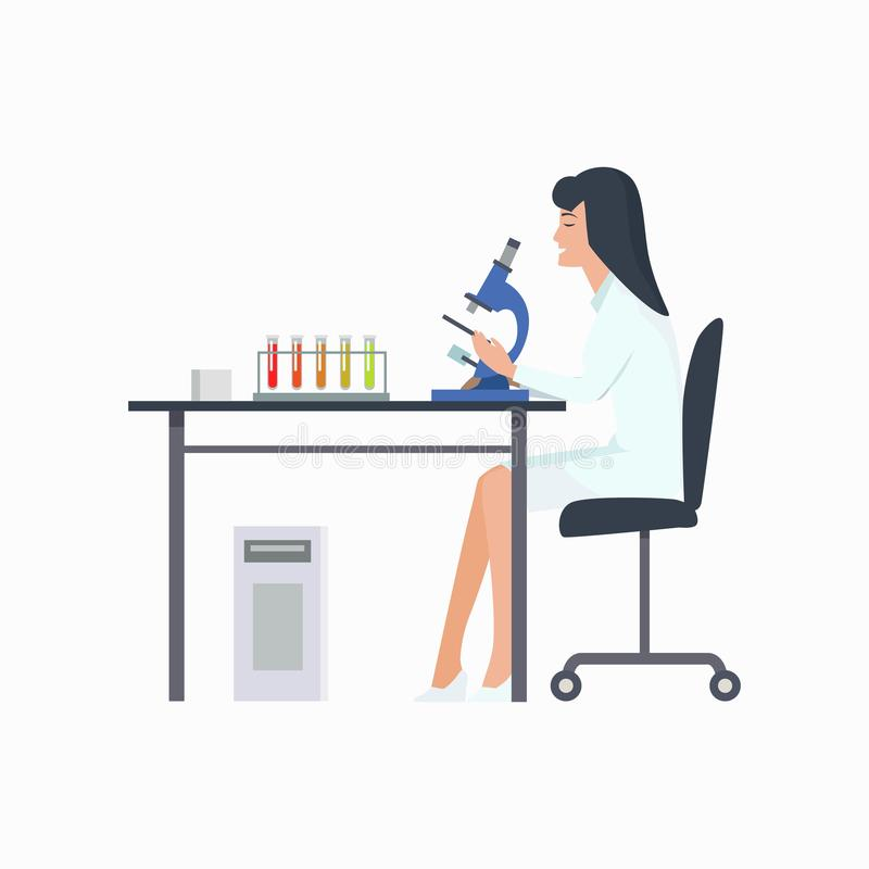 Woman Working in Laboratory Vector Illustration stock illustration