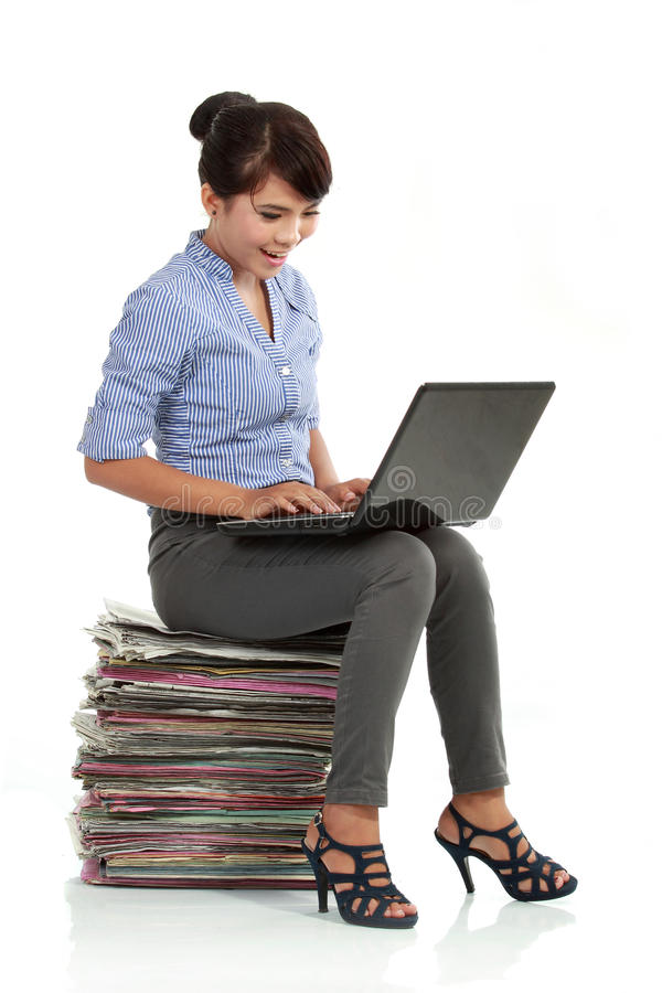 Download Woman Working With Laptop Stock Photo - Image: 21097620