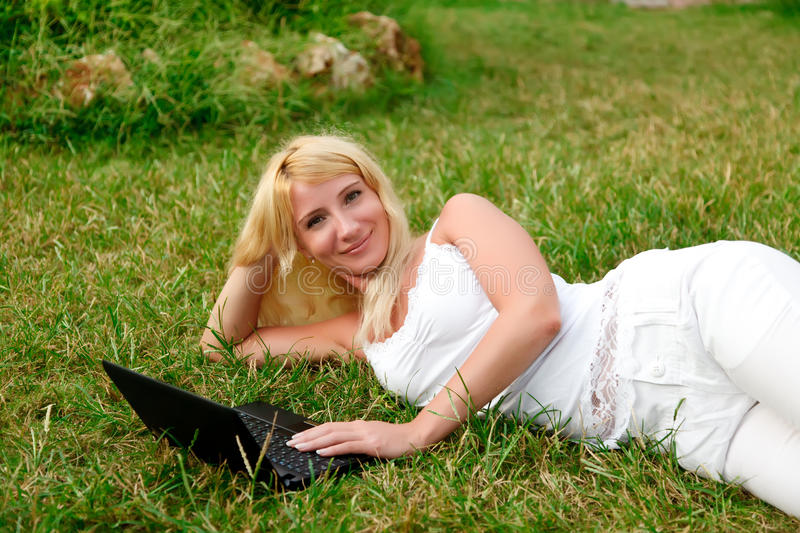 Woman Working With Laptop Royalty Free Stock Photo