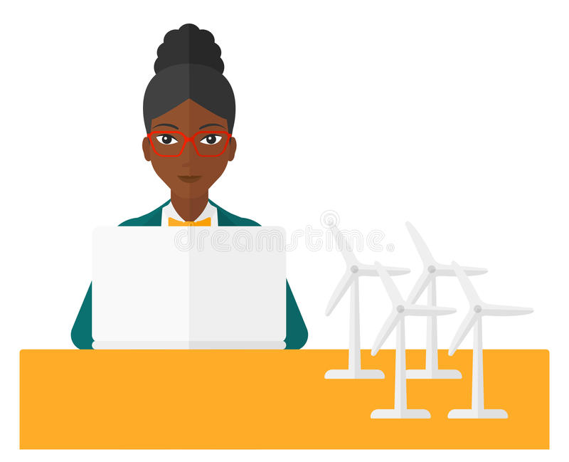 Woman working at laptop. An african-american woman looking at the laptop screen with wind turbine models standing on the table vector flat design illustration on vector illustration