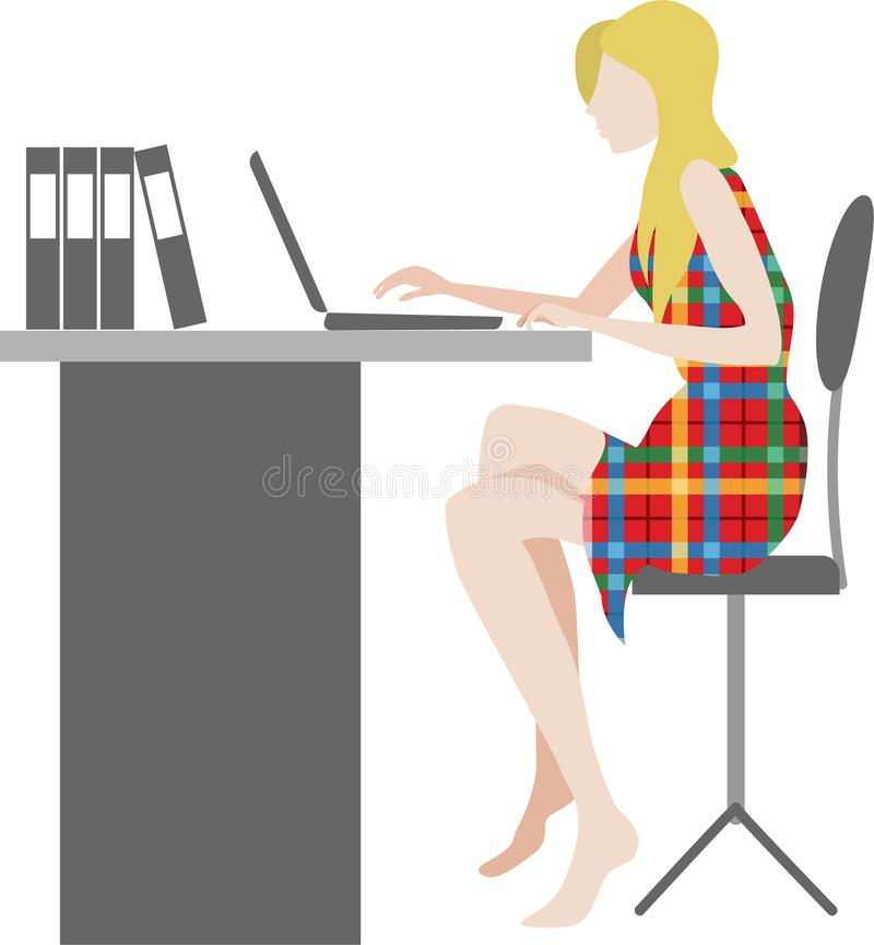 Woman is working on the laptop computer at the desk in cartoon flat style stock illustration