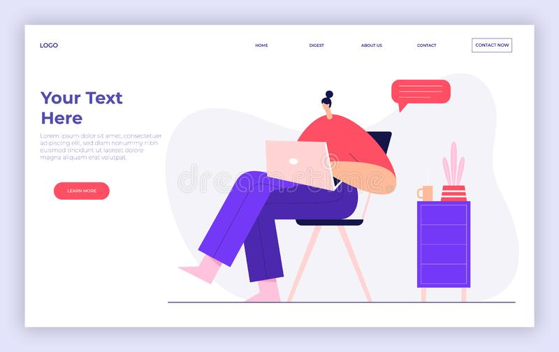 Woman working on a laptop, office workflow concept. Modern businessman character, social networks, marketing. Landing page royalty free illustration