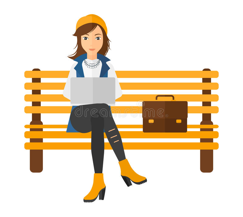 Woman working on laptop vector illustration
