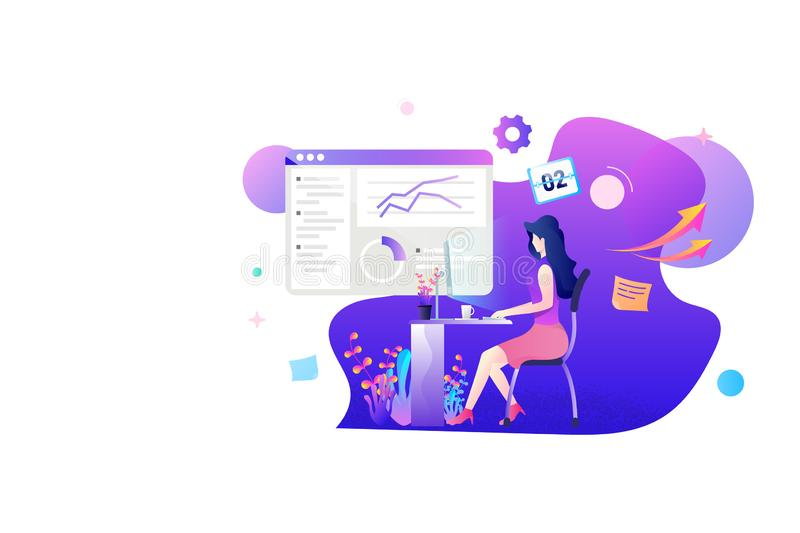 A woman working on marketing statistic flat concept design. stock illustration