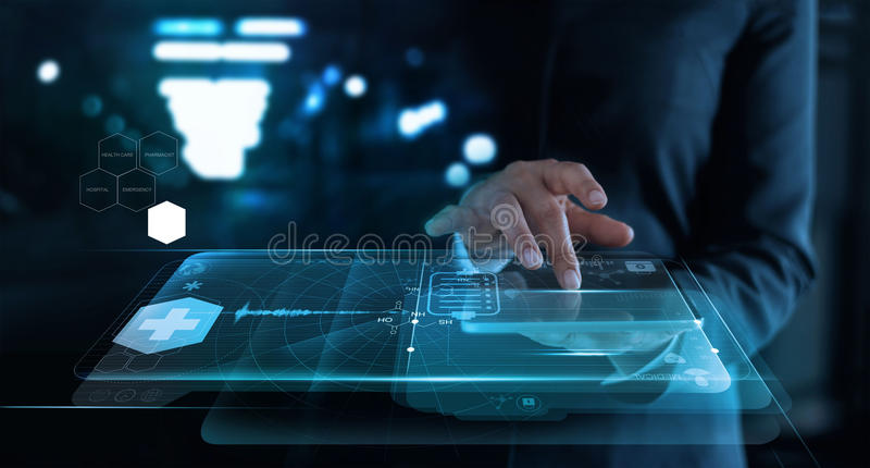 Woman working with medical network on virtual screen interface i royalty free stock photos