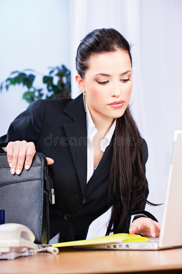 Download Woman Working On Notebook In Office Stock Photo - Image: 23102618