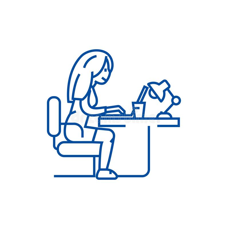 Woman working on notebook in office line icon concept. Woman working on notebook in office flat vector symbol, sign royalty free illustration