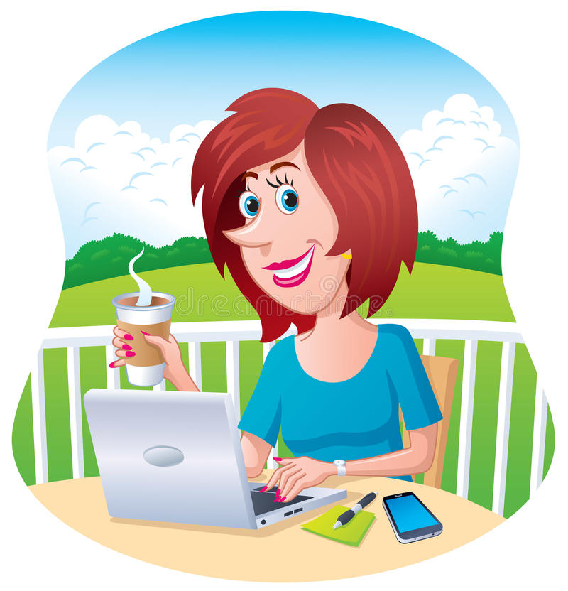 Woman Working Outdoors On Her Laptop royalty free illustration