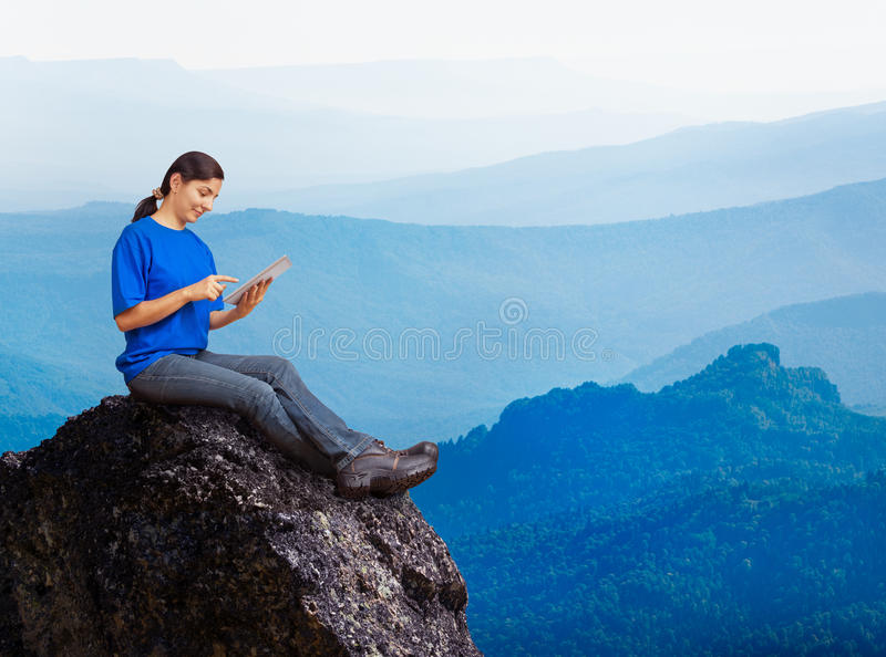 Woman working outdoors royalty free stock images