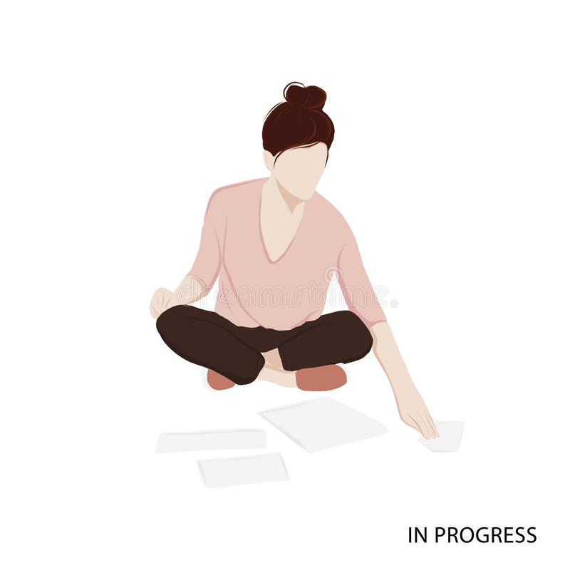 Woman working with papers. Isometric vector woman career illustration. Freelancer, working at home template. Data analysing.  vector illustration