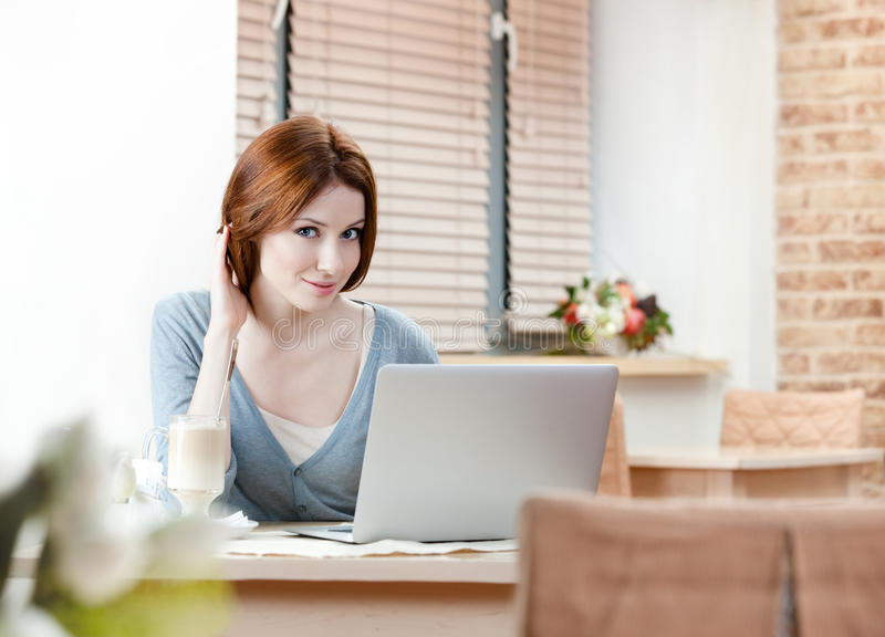 Download Woman Is Working On The Personal Computer Stock Image - Image: 26547897