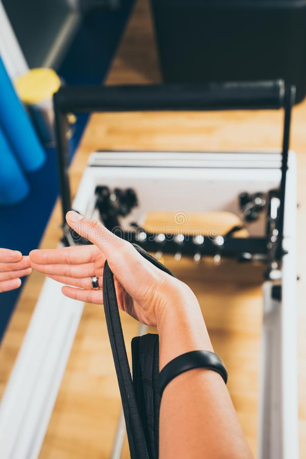Pilates reformer equipment stock photo