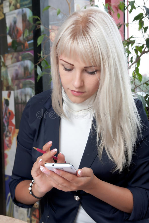 Woman Working With Smartphone Stock Photo