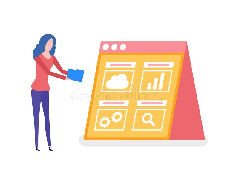 Woman Working on Statistics , Screen with Info. Information in visual form on screen vector. Worker with folder decoding info, cloud and cogwheel, gear sign of royalty free illustration